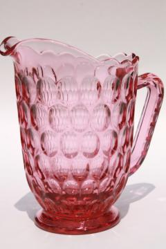 vintage Fenton thumbprint pattern glass Colonial pink lemonade pitcher