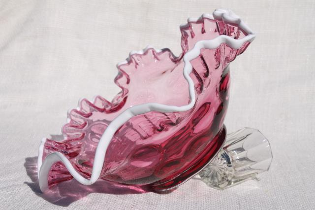vintage Fenton white snow crest cranberry glass bowl, dot optic large centerpiece dish