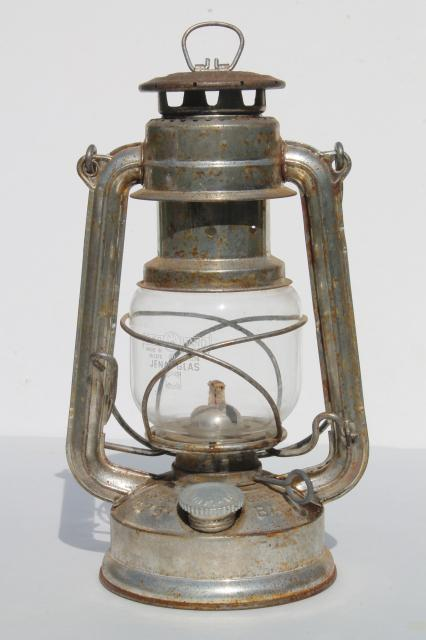 vintage Feuerhand baby lantern #275 w/ glass shade, made in Western Germany