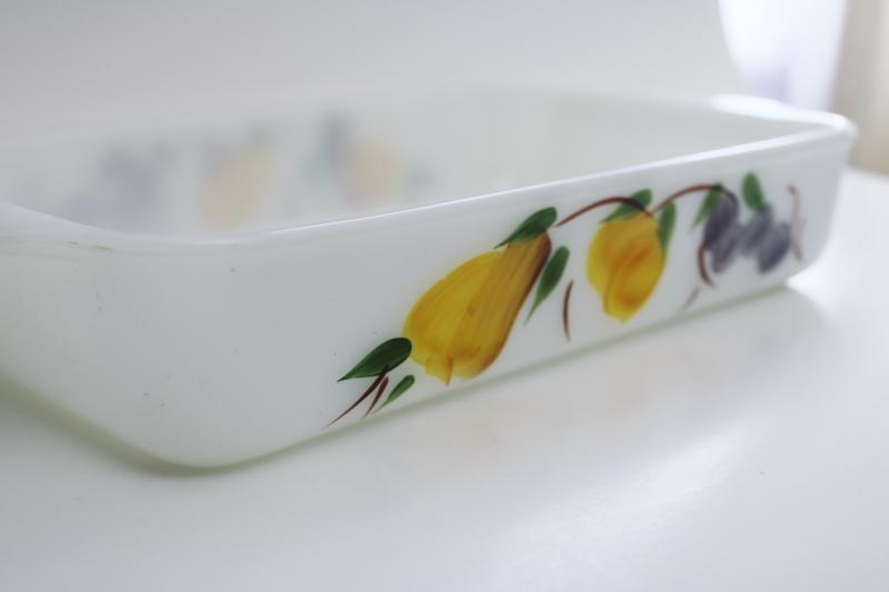 vintage Fire King Anchor Hocking milk glass baking pan w/ hand painted fruit