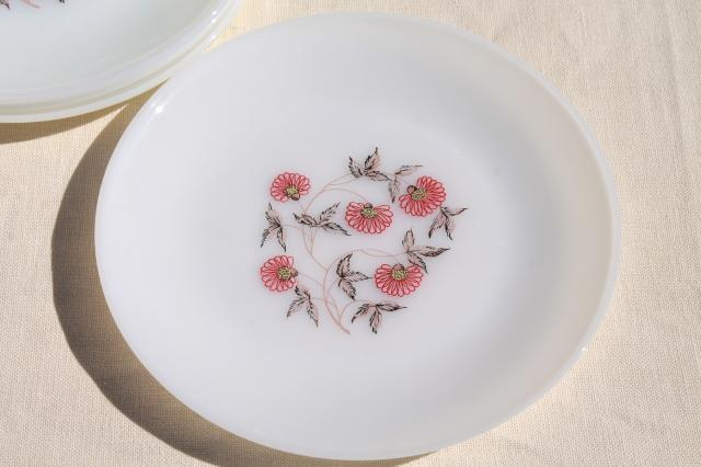 vintage Fire King Fleurette pink flowers milk glass dishes, dinner plates, cups & saucers