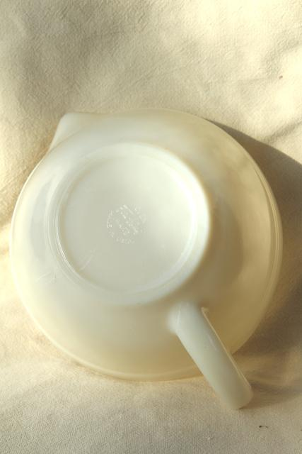 vintage Fire King Oven Ware custard ivory milk glass batter bowl mixing pitcher