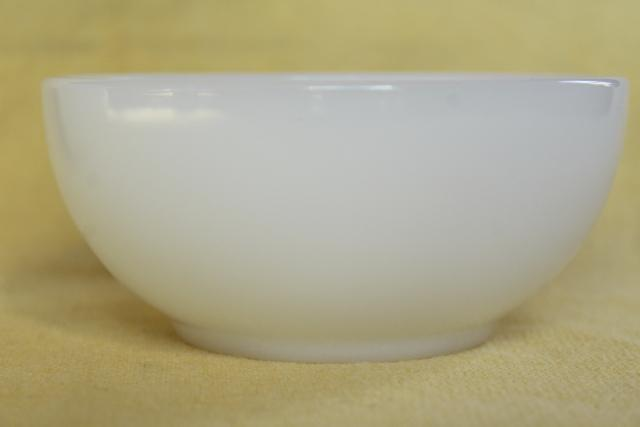 vintage Fire King Oven Ware white glass bowls, heavy restaurant ware milk glass