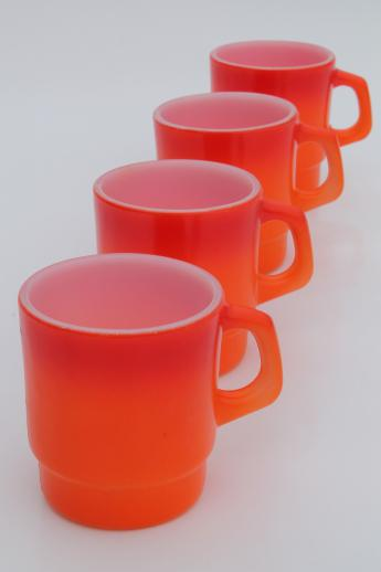 vintage Fire King glass coffee mugs, flame orange red shaded color white glass cups