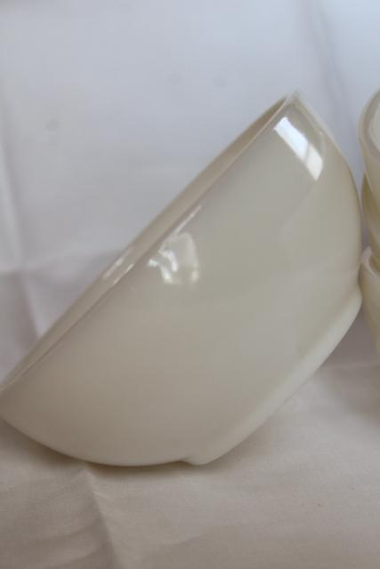 vintage Fire King ivory white glass bowls, heavy restaurant ware milk glass