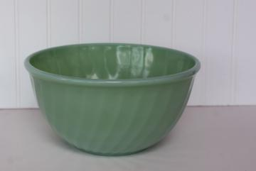 vintage Fire King jadeite jadite green glass swirl pattern large mixing bowl
