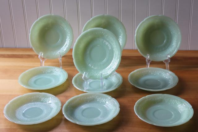 vintage Fire King jadeite saucer plates, Alice pattern flowers jadite dishes