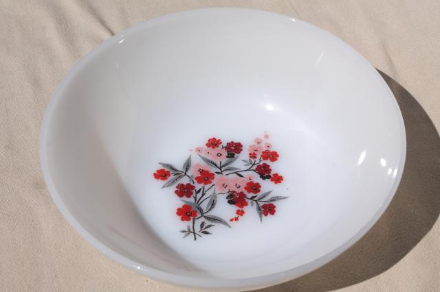 vintage Fire King milk glass Primrose pink flowers, platter, serving bowl, cream & sugar