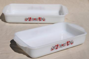 vintage Fire King milk glass baking pans, kitchen utility ware Primrose pink flowers