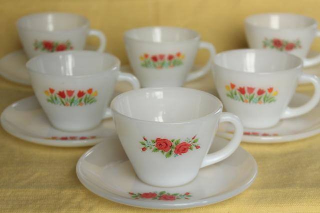 vintage Fire King milk glass cups and saucers, tulips & pink roses flower prints