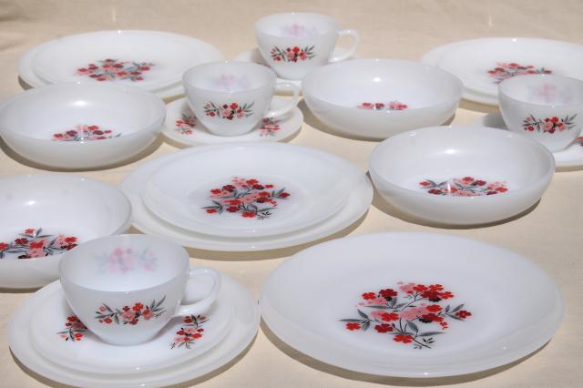 vintage Fire King milk glass dinnerware set for 4, Primrose pink flowers cottage chic