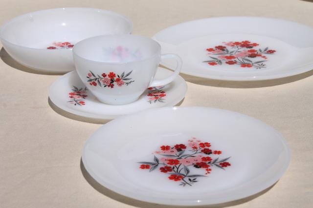 vintage Fire King milk glass dinnerware set for 6, Primrose pink flowers cottage chic