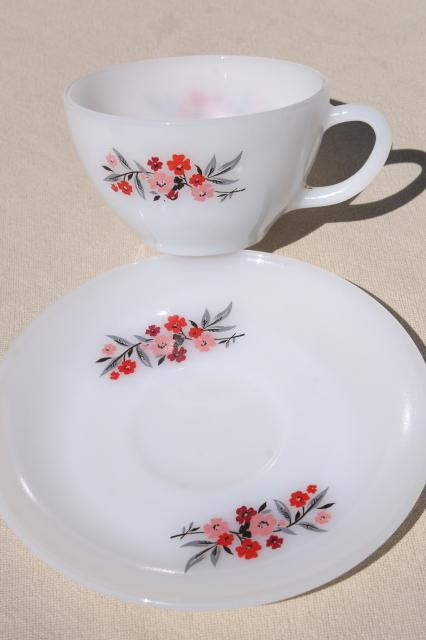 vintage Fire King milk glass dishes, Primrose pink flowers cups & saucers