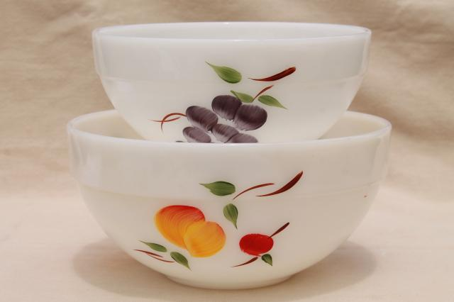 vintage Fire King milk glass mixing bowls w/ hand painted fruit Gay Fad studios