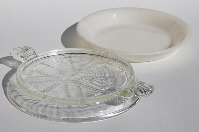 vintage Fire King milk glass pie plate, baking pan w/ tray handled serving trivet