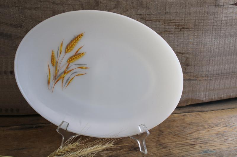 vintage Fire King milk glass platter w/ golden harvest wheat pattern