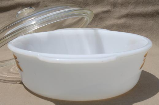 vintage Fire King oven proof kitchen glass oval casserole w/ gold wheat