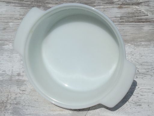 vintage Fire King oven ware glass, round ribbed milk glass casserole