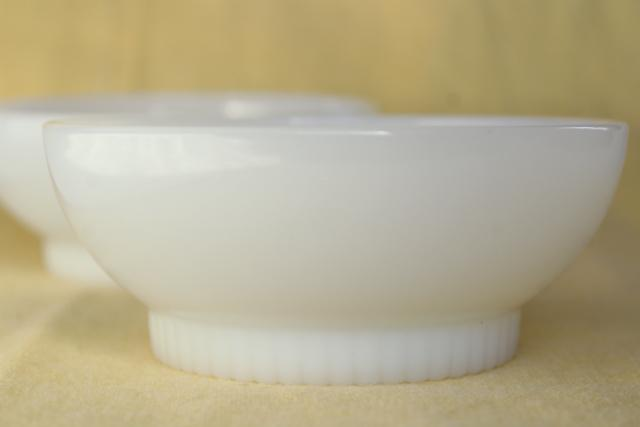 vintage Fire King oven ware milk glass bowls, ribbed foot cereal bowl set of 2