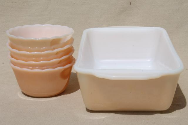 vintage Fire King peach luster copper tint milk glass custard cups & loaf pan