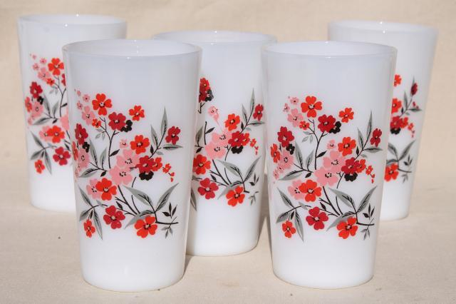 vintage Fire King primrose pattern milk glass tumblers, retro drinking glasses