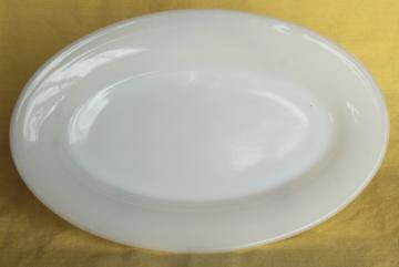 vintage Fire King restaurant ware white       milk glass, oval platter or steak plate