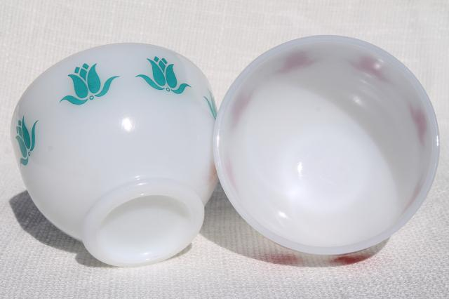 vintage Fire King tulip cottage cheese bowls, red & aqua flowers on milk glass