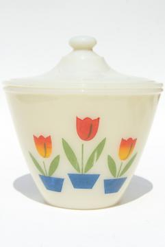 vintage Fire King tulip covered bowl grease jar, primary tulips on ivory milk glass<