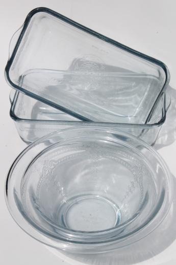 vintage Fire-King Philbe sapphire blue depression glass loaf pans & mixing bowls