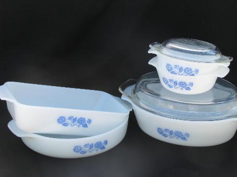 Vintage Fire King Glass Ovenware Blue Flower Cornflower