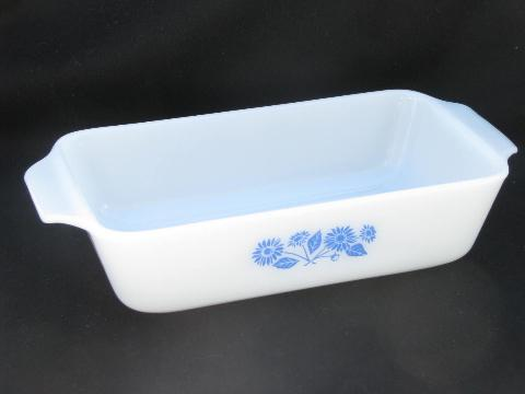 vintage Fire-King glass ovenware, blue flower cornflower pattern set