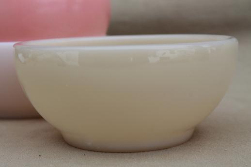 vintage Fire-King glass soup / chili bowls, ivory, pink white milk glass