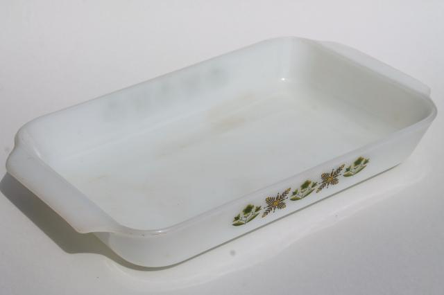 vintage Fire-King green meadow pattern milk glass baking dish, rectangular pan