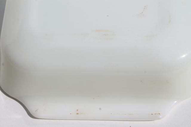 Vintage Fire King Green Meadow Pattern Milk Glass Baking