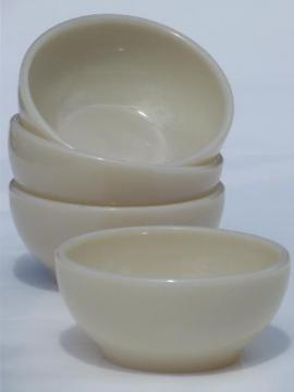 vintage Fire-King ivory glass restaurantware, restaurant soup bowls