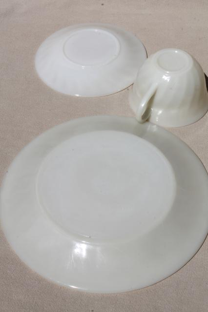 vintage Fire-King ivory swirl glass dishes, platter & dinnerware set for 4