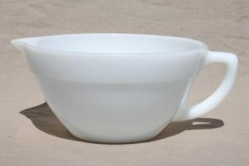 vintage Fire-King milk glass batter pitcher, kitchen glass mixing bowl w/ spout