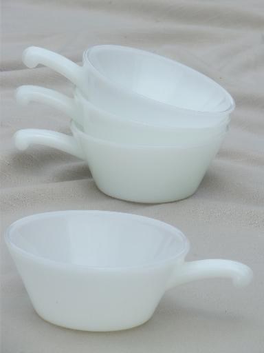 Vintage Fire King Milk Glass Stick Handle Onion Soup Bowl