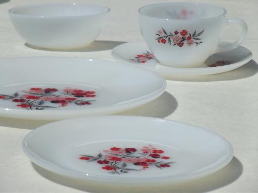 Vintage Fire King Primrose Flowered Glass Dishes Complete