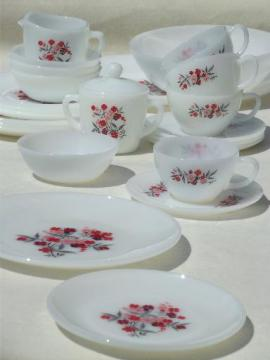 vintage Fire-King primrose flowered glass dishes, complete set for 4