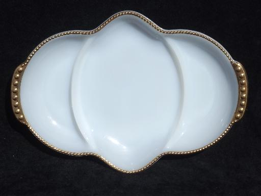 vintage Fire-King white w/ gold glass relish dish, divided serving bowl