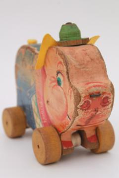 vintage Fisher Price Pudgy Pig wooden pull toy, shabby primitive w/ wood wheels
