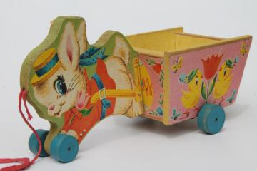 vintage Fisher Price pull toy, print paper wood Easter bunny rabbit flower cart