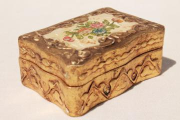 vintage Florentine gold gilt wood jewelry box, old paper label Florentia Italy