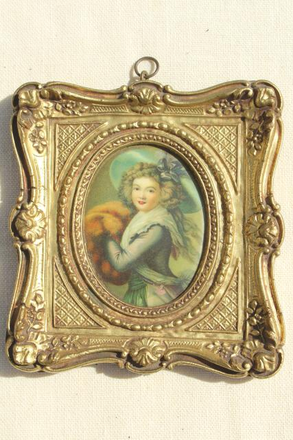 vintage Florentine gold ornate miniature picture frames w/ Regency era portraits