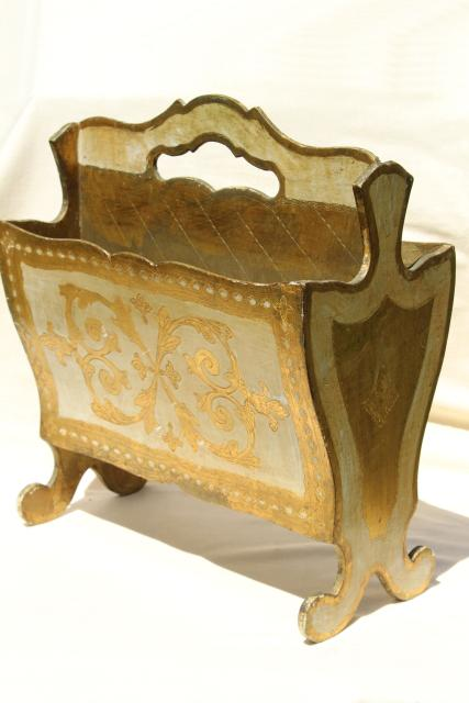Vintage Florentine Gold Amp White Wood Magazine Rack Sheet
