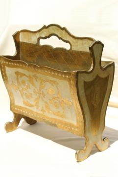 vintage Florentine gold & white wood magazine rack, sheet music holder or newspaper stand