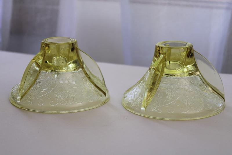 vintage Florentine poppy Hazel Atlas yellow depression glass candle holders pair