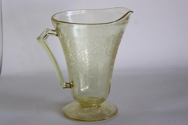 vintage Florentine poppy pattern glass pitcher, amber yellow depression glass