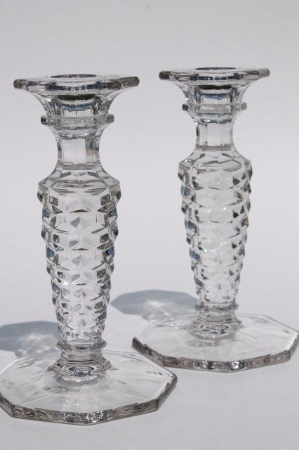 Wonderful vintage Fostoria American candlesticks, pair of crystal clear  IY55